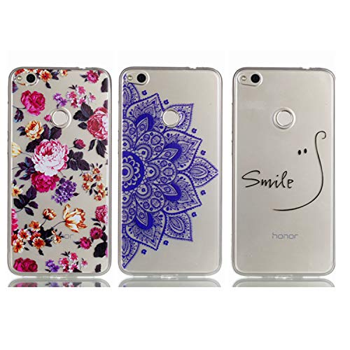 - Huawei P8 Lite 2017 Case - 3 Pcs Shock-Absorption TPU Rubber Skin Bumper Case Transparent Crystal Clear Cute Colorful Print Patterns Ultra Slim Protective Cover by AIIYG DS - Floral