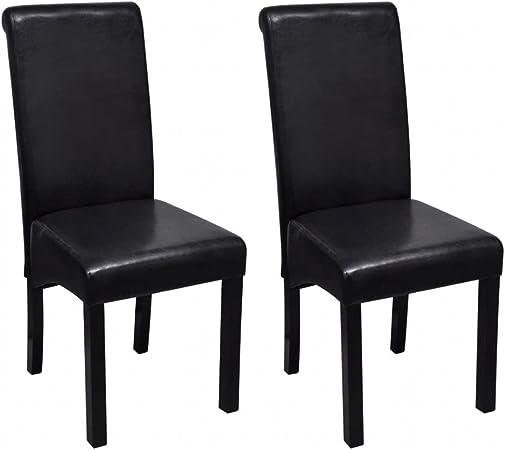 vidaXL 2X Chaise de Salle à Manger Cuir Artificiel Noir Chaises de Cuisine