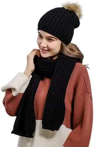 42fb85c1252 Lanzom Valentine Gift 2 PCS Women Lady Stylish Winter Warm Knitted Hat and Scarf  Set Skullcaps