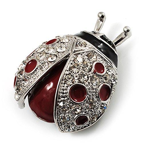 Avalaya Red Enamel Ladybug Brooch (Silver Tone)