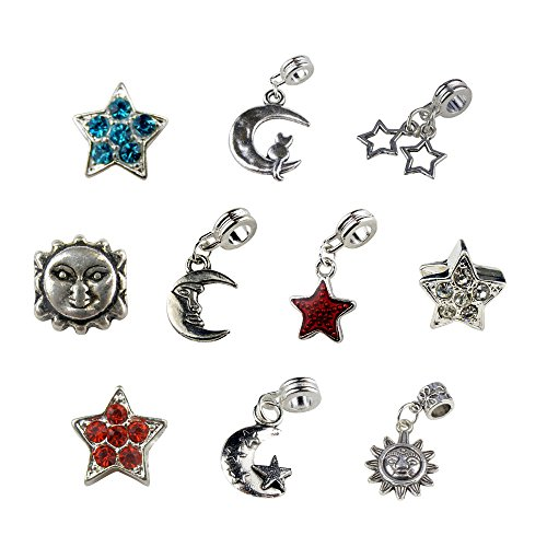 Sun, Moon and Star Charms and Beads Includes Rhinestone Star Beads in Turquoise, Red and Clear; Cat on the Moon, Double Star, Sun, Moon, Star, Moon and Star ()
