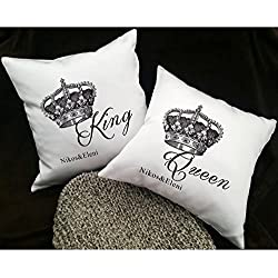 Couple Pillows - Couples Pillowcases - His and Hers Pillows - Pillows for Couples - King Queen Pillows - Love Pillow Cases - 14X14""