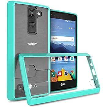 LG K8 V Case, LG K8V Case, CoverON [ClearGuard Series] Hard Clear Back Cover with Flexible TPU Bumpers Slim Fit Phone Cover Case for LG K8V / K8 V - Teal / Clear
