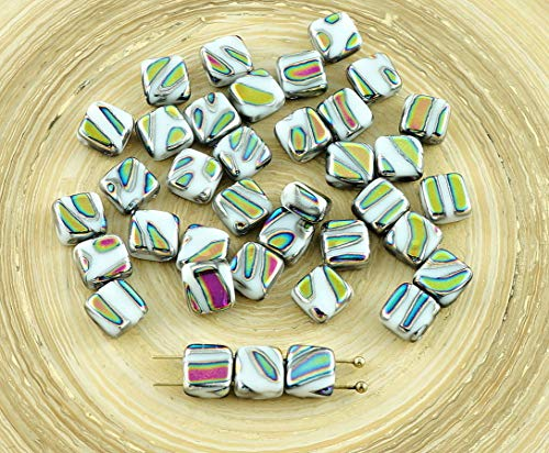 20pcs Opaque White Green Zebra Peacock Dichroic Vitrail Striped Tile Czech Glass Beads 2 Two Hole Flat Square 6mm x ()