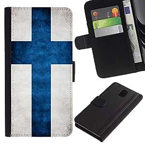 NAVY*COLLECTION Bandera Nacional Foto CUERO RANURA TARJETA Funda Cover Case Voltear TPU Carcasas Protectora Para Samsung Galaxy Note 3 III N9000 N9002 N9005 - Finlandia Finn