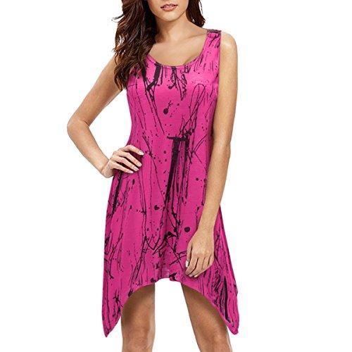 Femmes Floral Robe Rosy Swing t Tunique Manches Robe Basique sans Mini pqYwPIZAZ