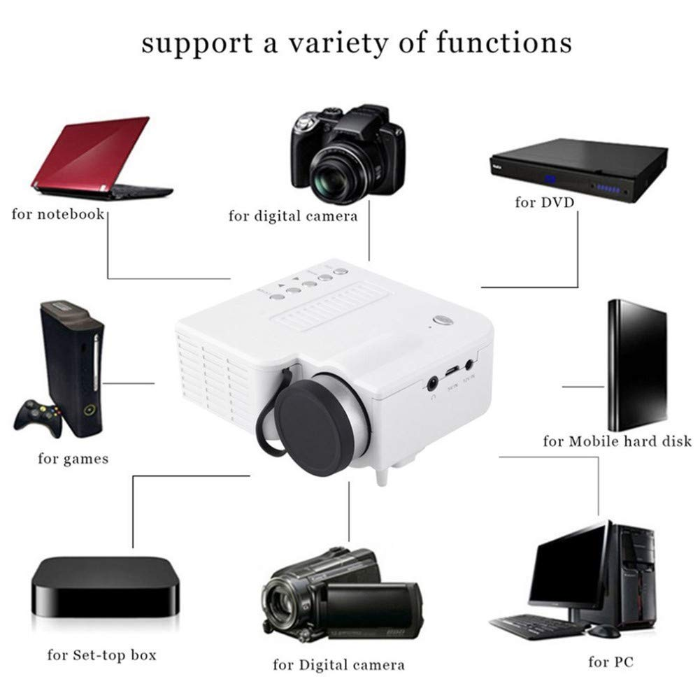 Efficient Cooling Built-in Speaker 40LMS Mini Home Theater Cinema USB TF HDMI AV LED Projector for Home Use zz Multimedia Portable LED Projector