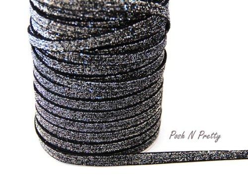 5 YARDS 3/8 Glitter Stretch Velvet Elastic Metallic NO FLAKE Trim- Sparkle Black (Glitter Stretch Velvet)