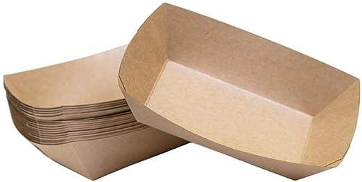 Bandeja de alimentos de papel, papel de Kraft Bandeja de alimentos de comida rápida Bandeja de refrigerios para los partidarios del partido Comida 18x13x4 cm 50 PCS: Amazon.es: Hogar