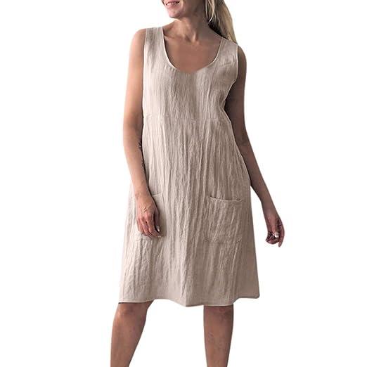 26117971f0 Twinsmall Women Casual Linen Midi Dress Tank Sundress Loose Sleeveless  Straight Dresses (S