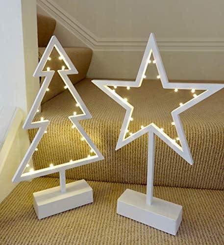 1 x stella bianca 39 cm di altezza x 26 cm di larghezza e 1 x albero di Natale 39 cm di altezza x 21 cm di larghezza decorazioni con micro luci LED (3 batterie AA necessarie, non incluse