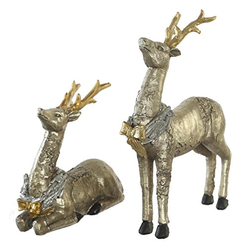 CEDAR HOME Christmas Reindeer Table Decor Home Decoration Animals Figurine Sculptures Elks Statues Moose, Silver, Set of 2 ()