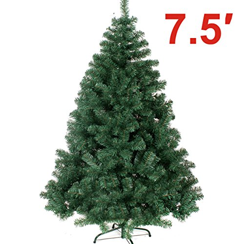 NEW Green 7.5' Classic Pine Christmas Xmas Tree Artificial Realistic Natural Branches---1200 tips with Solid Metal Stand