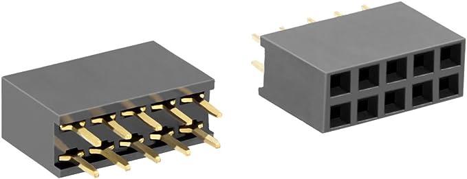 50PCS 2.54 mm 2x3 Pin Double Row Female Straight Header Pitch Socket Strip 6Pin