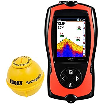 Lucky Portable Fish Finder Transducer Sonar Sensor 147 Feet Water Depth Lcd Screen Echo Sounder Fishfinder With Attractive Lamp For Ice Fishing