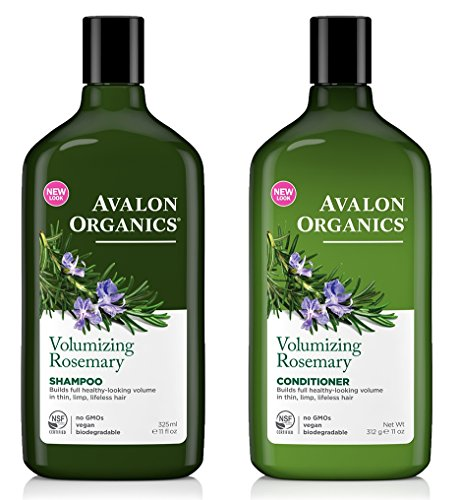(Avalon Organics All Natural Rosemary Volumizing Shampoo and Conditioner With Aloe, Lavender, Chamomile, Grapefruit and Babassu Oil, Sulfate Free, Paraben Free, Cruelty Free and Vegan, 11 fl. oz. each)