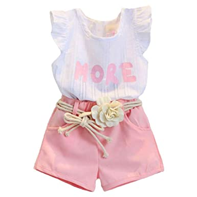 d358bfc098aa Image Unavailable. Image not available for. Color  2PCS Set Toddler Kids  Baby Girls Outfits Clothes T-Shirt Vest Tops+Shorts Pants