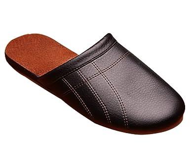 2a48de05c Amazon.com | Cattior Mens Comfy House Slipper Leather Slippers ...