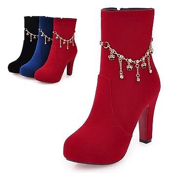86eee5c179cee ZHRUI Stivali da Donna - Invernali Spessi con Calde Scarpe da  Donna Cerniera Laterale Stivali