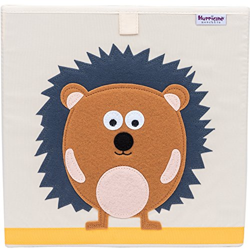 Hurricane Munchkin Collapsible Toy Storage Box | Cube Bin Organizer for Children Toys, Stuffed Animals, Books & Clothes (13'' x 13'' x 13'') | Great for Nursery, Kids Bedroom & Playroom - Hedgehog by Hurricane Munchkin