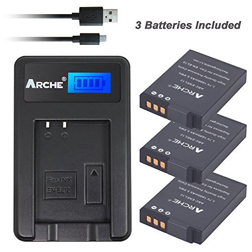 ARCHE EN-EL12 <3 Pack> Battery and LCD Single Charger Kit for [Nikon Coolpix S1000pj S1100pj S6000 S6100 S6150 S6200 S6300 S8000 S8100 S8200 S9050 S9100 S9200 S9300 S9400 S9500 S9600 - Nikon Battery Coolpix S8000