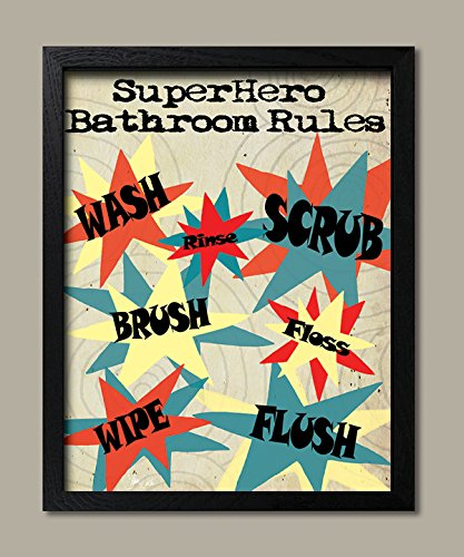 Merveilleux Superhero Rules Bathroom Rules; Wash Flush Brush Floss Scrub Rinse; Kids Bathroom  Decor;