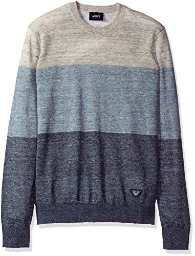 Armani Jeans Men's Regular Fit Linen Blend Colorblock Sweater, Stripe, Large
