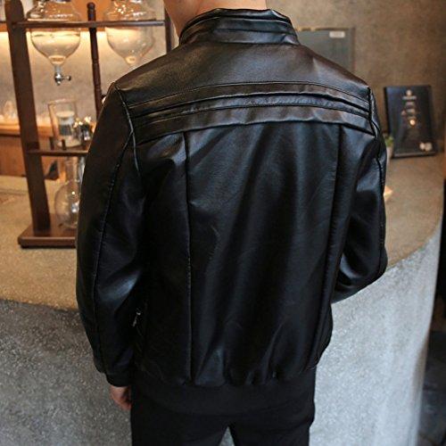 abrigo Chaqueta Con PU Cuero de Imitación Chaquetas Manga Cremallera Bomber Hombre Negro Larga De B5xPqXvww