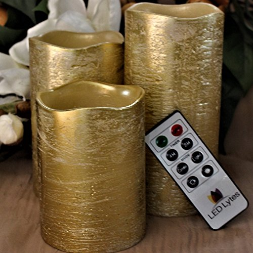 Battery Operated LED Flameless Candles - Set of 3 Round Rustic Gold Coated Ivory Wax with Amber yellow Flame Flickering LED Candles, auto-off Timer Remote Control by LED Lytes Flameless Candles (Rustic Chandelier Candle)