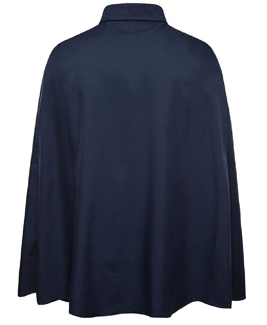 Domple Mens Solid Slim Fit Phocho Cape Hipster Long Sleeve Button Down Shirts Navy Blue US XL