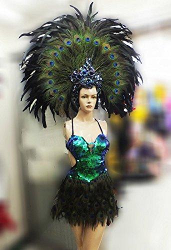 Da NeeNa Showgirl Vegas Dance Drag Peacock Headdress Costume XS-XL (Costumes Vegas)
