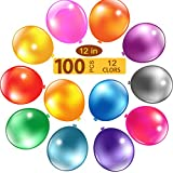 YOUR GIFT 100pcs Assorted Color Party Balloons Thicken Round Metallic Pearlescent Latex Decoration Balloons Photo Shoot/Birthday/Wedding Party/Festival/Event/Carnival Decorations (12 Inches)