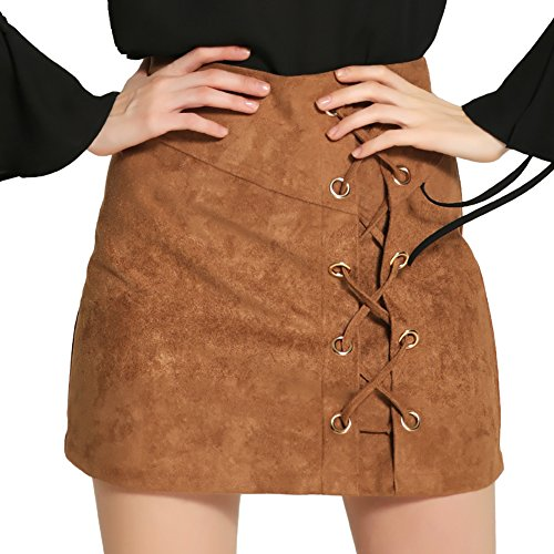 DUBACH Women's High Waist Faux Suede Solid A-Line Skirt
