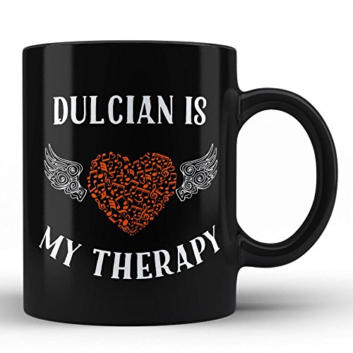 Dulcian Is My Therapy | Best Unique Gift for Music Musician Composer Instrument Lover / Dulcian Player Black Coffee Mug By HOM