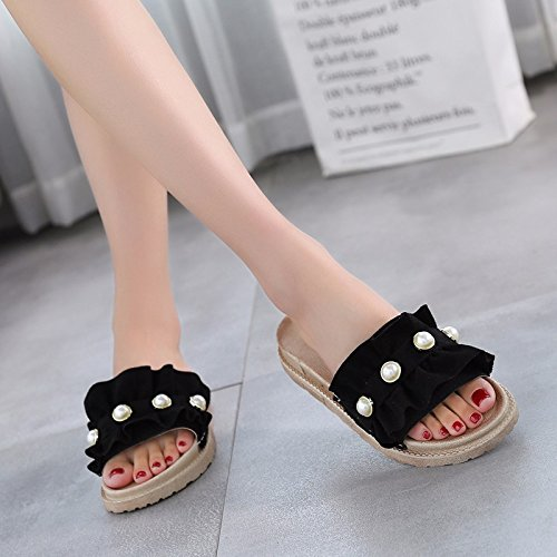 Leisure Heeled Black Soled Sandals Wear Beach Pearls Thick Wild Women'S Low Muffins Comfort WHLShoes Slippers Summer Sandals Female And UqZwgHxnOv