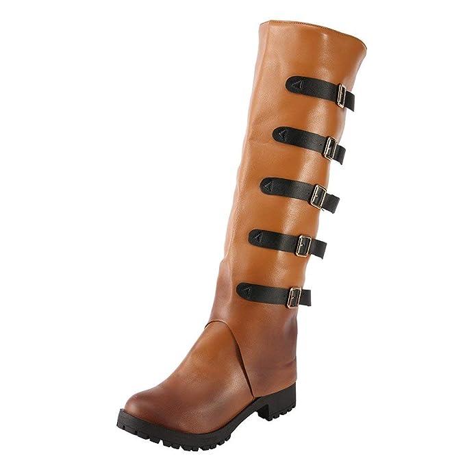 POLP Botas Mujer Tacon Alto Cuero Botines Invierno Pelaje Tobillo Hebilla Zapatos de Trabajo Señoras Altos Talones Fiesta Negras Marrón 35-43: Amazon.es: ...