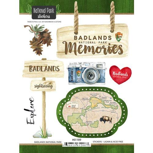 (Scrapbook Customs 61189 Badlands National Park South Dakota Watercolor Stickers)
