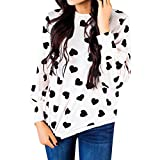 Kemilove 2018 Women Casual Heart Printed Long Sleeve Pullover Blouse Shirts Sweatshirt