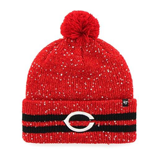 - '47 MLB Cincinnati Reds Women's Amelia Cuff Knit Beanie with Pom, Red, One Size