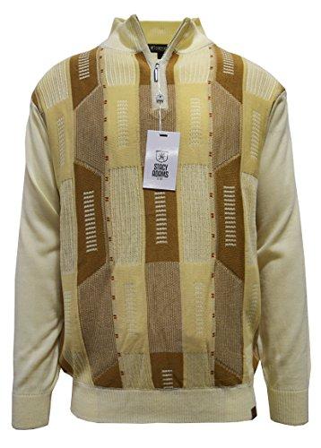 Stacy Adams Men's Sweater, Multi Block Jacquard (XXL, Cream) (Adams Stacy Cream Mens)
