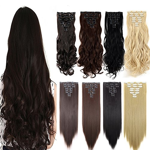 [S-noilite 8Pcs Double Weft 180G Full Head Clip in Hair Extensions Curly Straight Brown Blonde Black Synthetic Hair(24