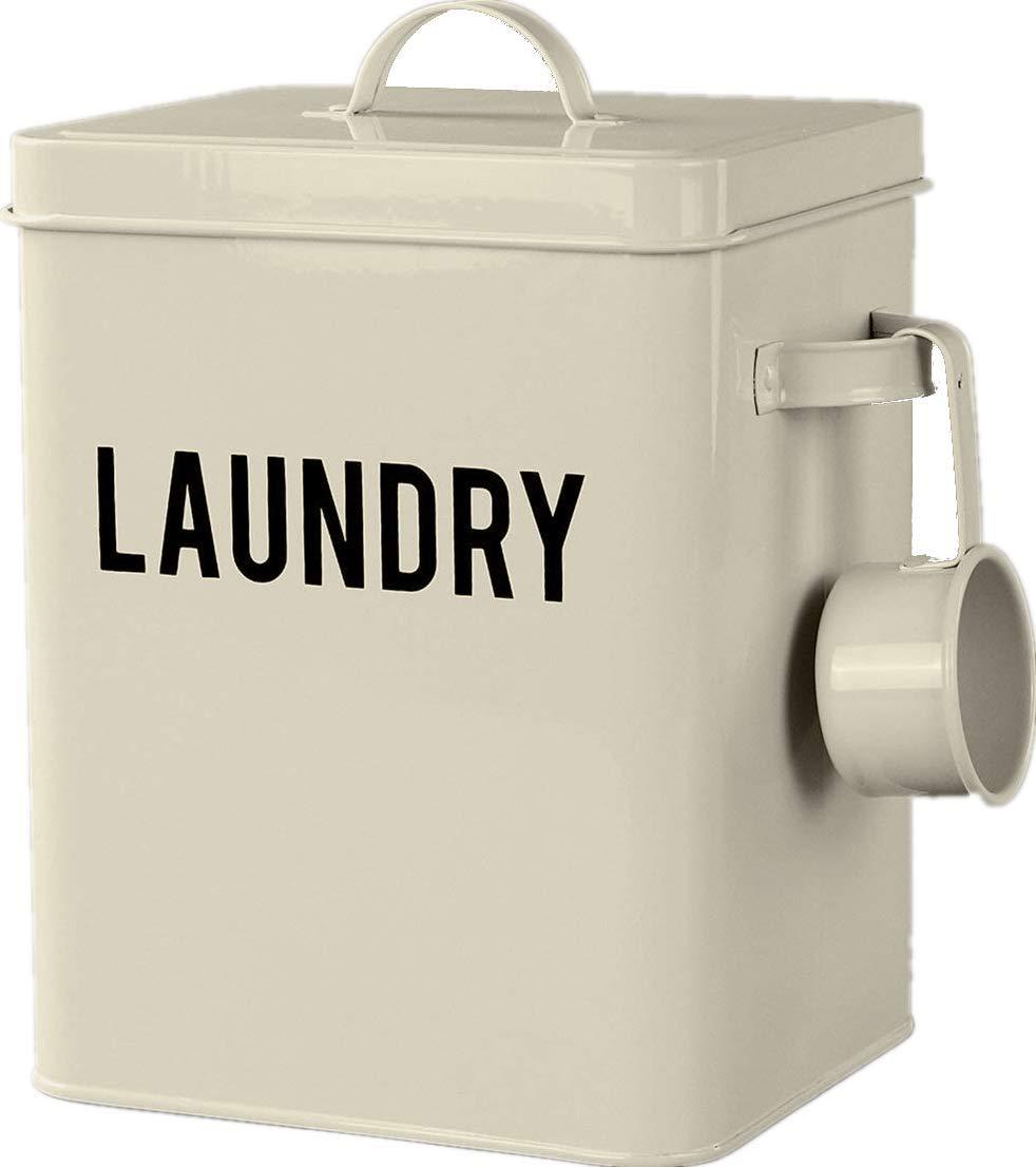 Laundry Detergent Powder Storage Tin Box, 4 FREE Mesh Bags, Laundry Room Decor, 9 Inch High, Cream