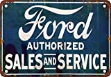 "7"" x 10"" Metal Sign - Authorized Ford Sales & Service - Vintage Look Reproduction"