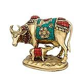 CraftVatika Beautiful Lucky Nandi Kamdhenu Cow Calf Brass Sculpture- Hindu Religious Spiritual Home Decor & showpiece Figurine