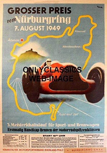 F1 Grand Prix Card - OnlyClassics 1949 GERMAN GRAND PRIX FORMULA ONE AUTO RACING POSTER MERCEDES RACE CAR F1 INDY
