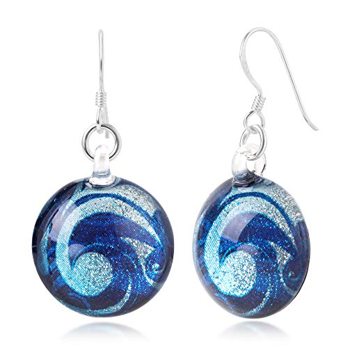 (925 Sterling Silver Glass Jewelry Glittery Blue Sea Wave Design Dangle Round Earrings)