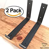 2 Pack - 9.25''L x 6''H Hook Brackets, Handcrafted Forged Rustic Salvaged Metal Shelf Modern decorative bracket for shelve Storage Strap Angle lip.