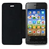 Acm Leather Diary Folio Flip Flap Case For Micromax Bolt A066 Mobile Front & Back Cover Black