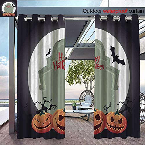 QianHe Balcony Curtains Creepy-Tombstone-and-Scary-Halloween-Pumpkin-Vector.jpg Outdoor Patio Curtains Waterproof with Grommets W120 x L108(305cmx274cm)