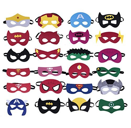 color mogu Superheroes Party Masks for Children, 24 Piece ()